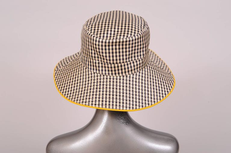 Hermes Black and White Silk Hat In Excellent Condition For Sale In New Hope, PA