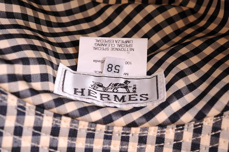 Hermes Black and White Silk Hat For Sale 1