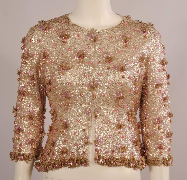 1950's Couture Level Pink and Gold Beaded and Embroidered Tulle Evening Jacket For Sale 3