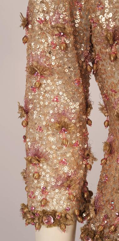 1950's Couture Level Pink and Gold Beaded and Embroidered Tulle Evening Jacket In Excellent Condition For Sale In New Hope, PA