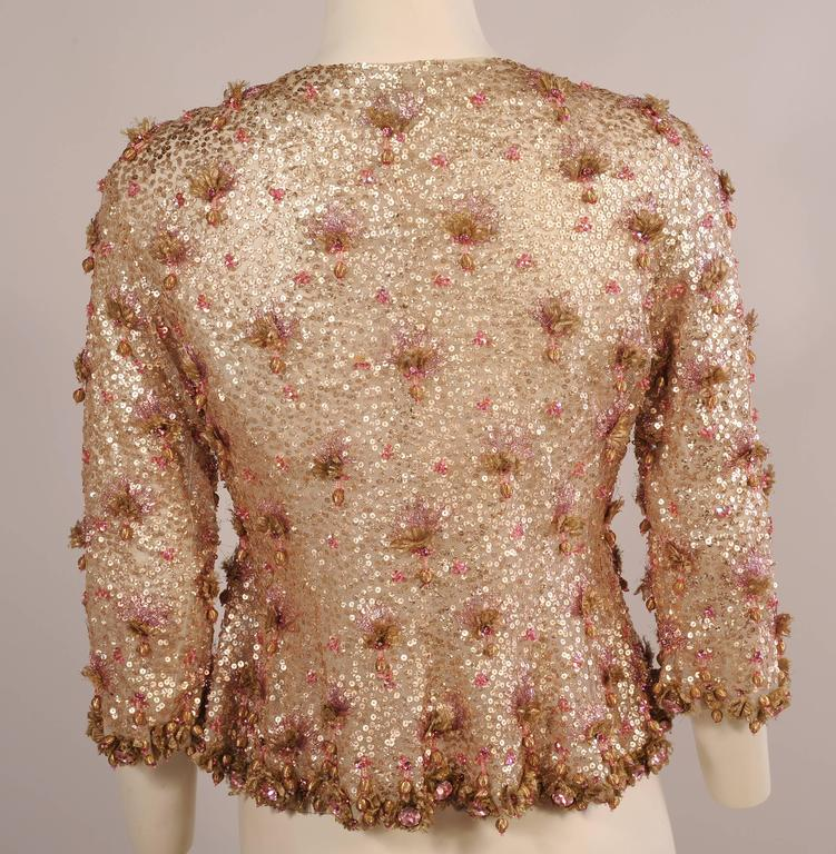 Beige 1950's Couture Level Pink and Gold Beaded and Embroidered Tulle Evening Jacket For Sale