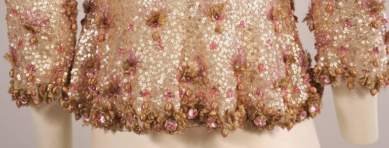 1950's Couture Level Pink and Gold Beaded and Embroidered Tulle Evening Jacket For Sale 1