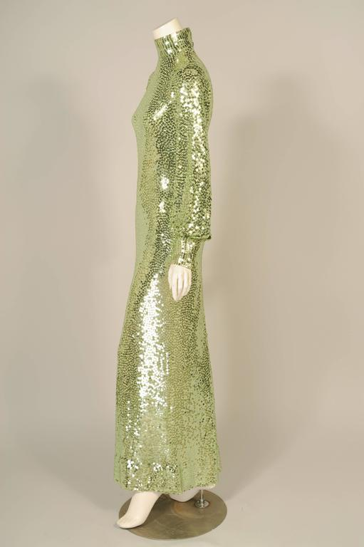 1960's-1970's Norman Norell Iconic Mermaid Gown Sparkling Green Sequins on Silk  2