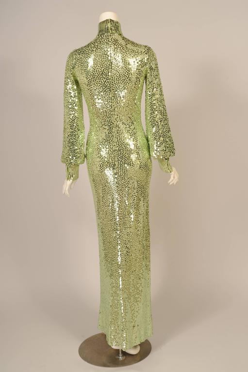 1960's-1970's Norman Norell Iconic Mermaid Gown Sparkling Green Sequins on Silk  3