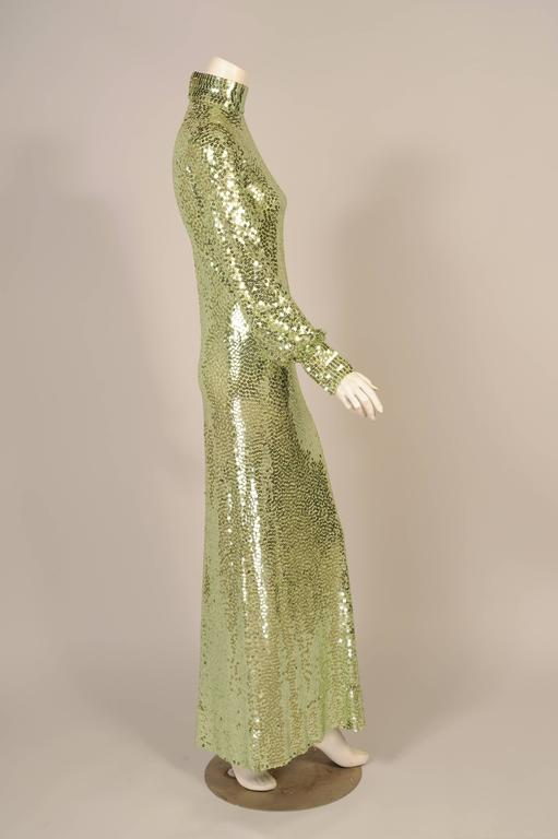 1960's-1970's Norman Norell Iconic Mermaid Gown Sparkling Green Sequins on Silk  4