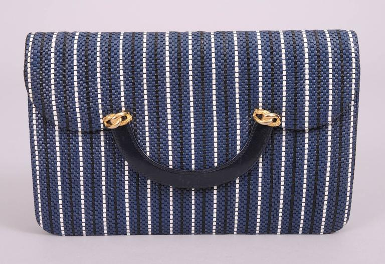 Fred, Paris Navy and White Woven Leather Clutch or Shoulder Bag, Never Used 2