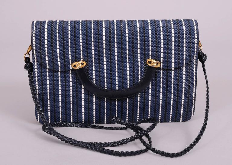 Fred, Paris Navy and White Woven Leather Clutch or Shoulder Bag, Never Used 5