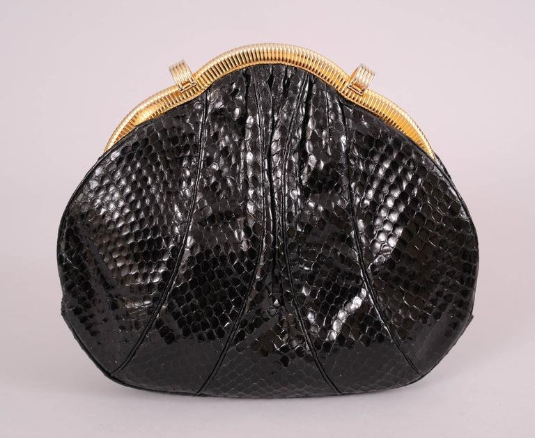 Judith Leiber Black Snakeskin Bag with Onyx and Gold Frame In Excellent Condition For Sale In New Hope, PA