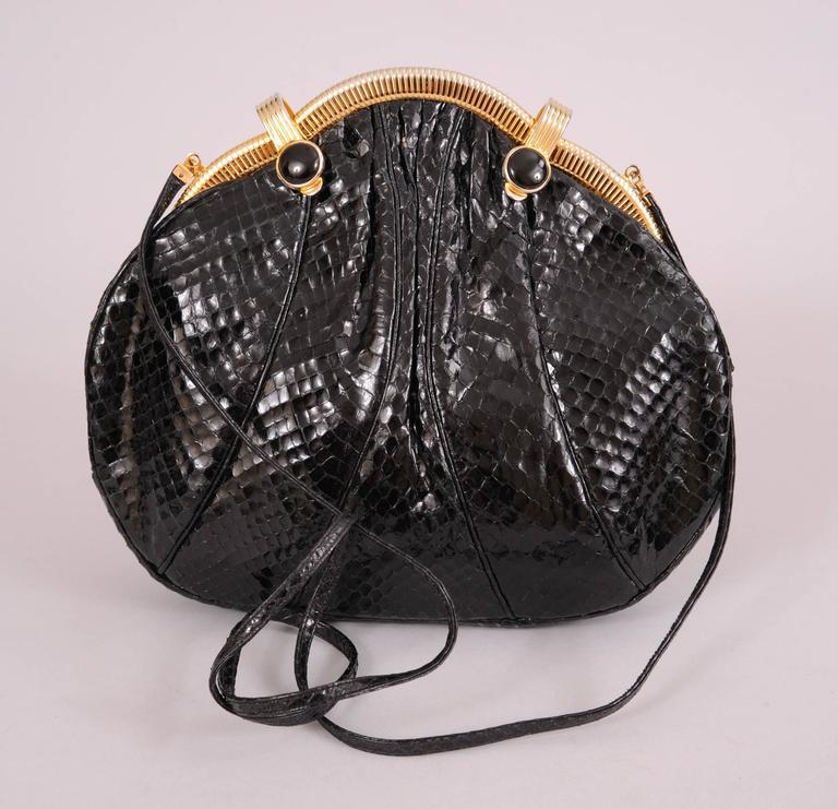 Women's Judith Leiber Black Snakeskin Bag with Onyx and Gold Frame For Sale