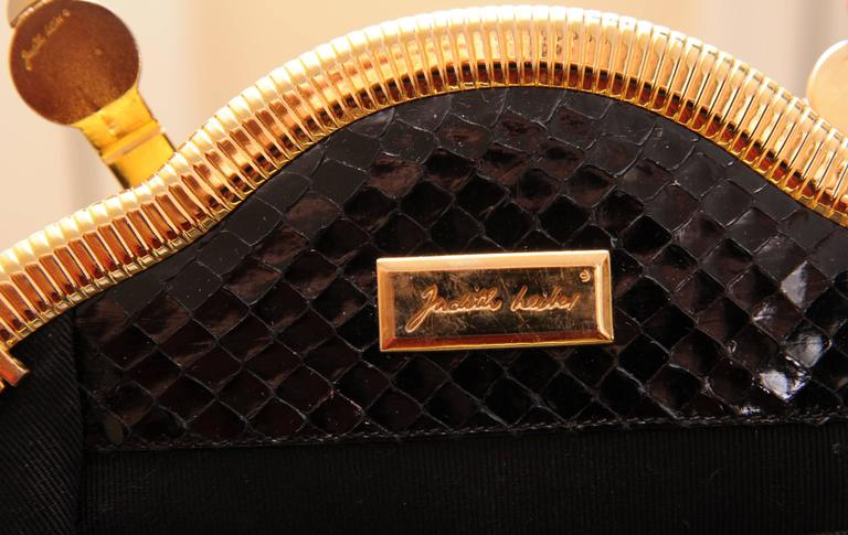 Judith Leiber Black Snakeskin Bag with Onyx and Gold Frame For Sale 1