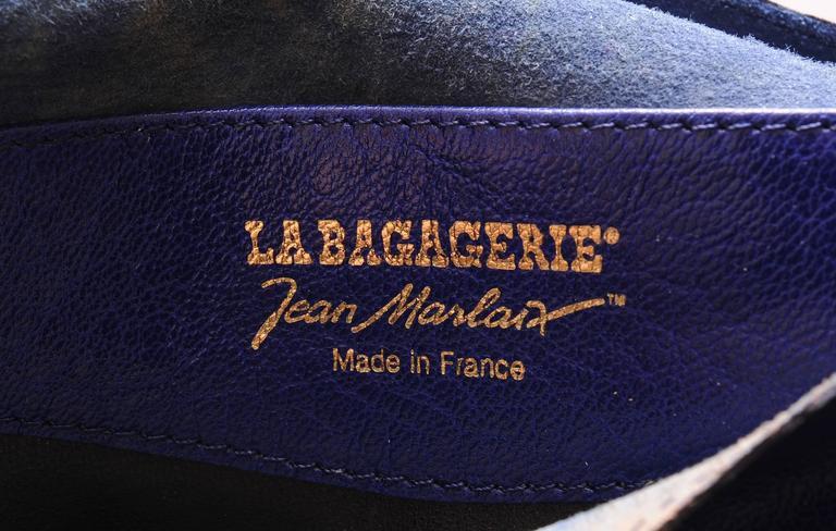 Women's La Bagagerie, Paris Bright Blue Leather Envelope Clutch For Sale