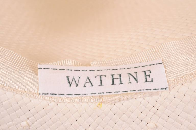 Wathne White Straw Hat with Violets For Sale 1
