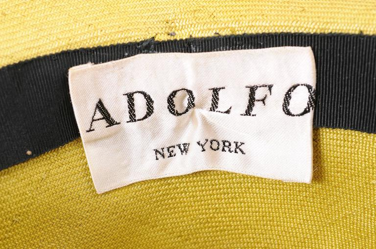 Women's Adolfo Oversized Chartreuse Straw Hat Circa 1970 For Sale