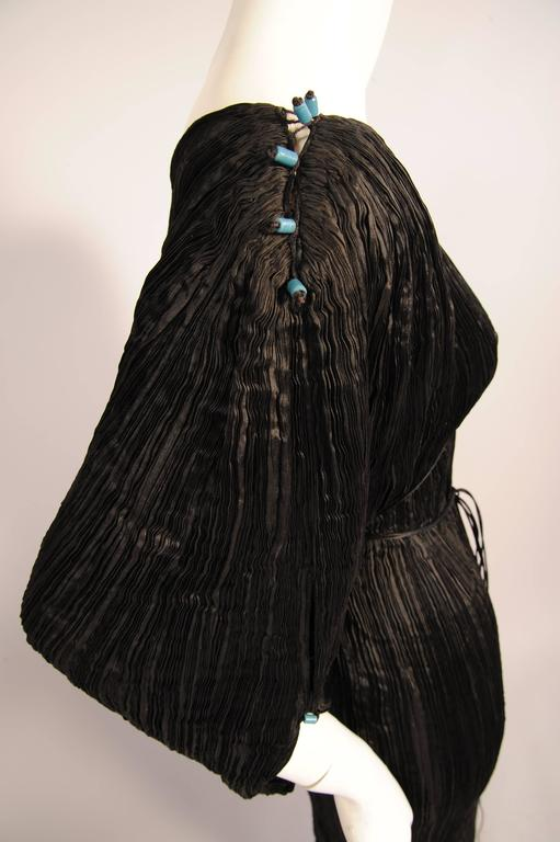 Mariano Fortuny Rare Early Black Silk Delphos with Narrow Cord Bodice Wrap In Good Condition For Sale In New Hope, PA