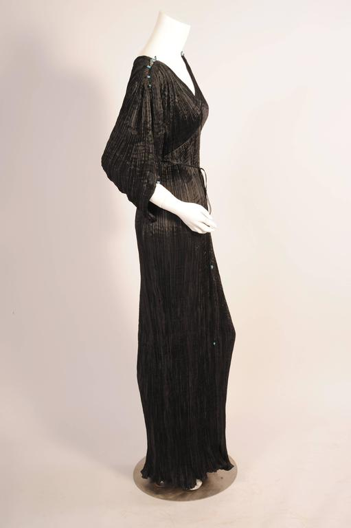 Women's Mariano Fortuny Rare Early Black Silk Delphos with Narrow Cord Bodice Wrap For Sale