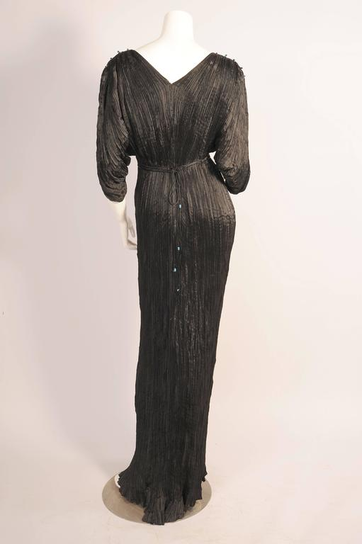 Mariano Fortuny Rare Early Black Silk Delphos with Narrow Cord Bodice Wrap For Sale 1