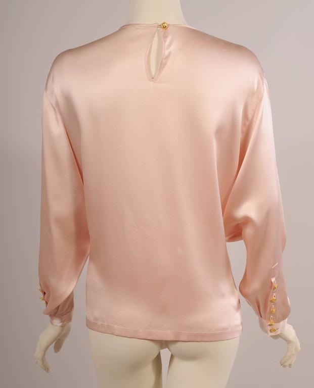 Beige Chanel Pale Pink Silk Charmeuse Blouse, Larger Size For Sale