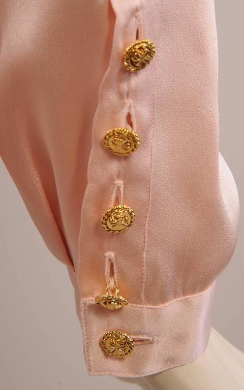 Chanel Pale Pink Silk Charmeuse Blouse, Larger Size In Excellent Condition For Sale In New Hope, PA