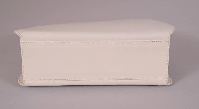 9553c91656 Women s Ferragamo White Leather Bag Black Lizard Trim