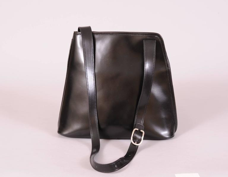 Longchamp Vintage Black Leather Shoulder Bag Unusual