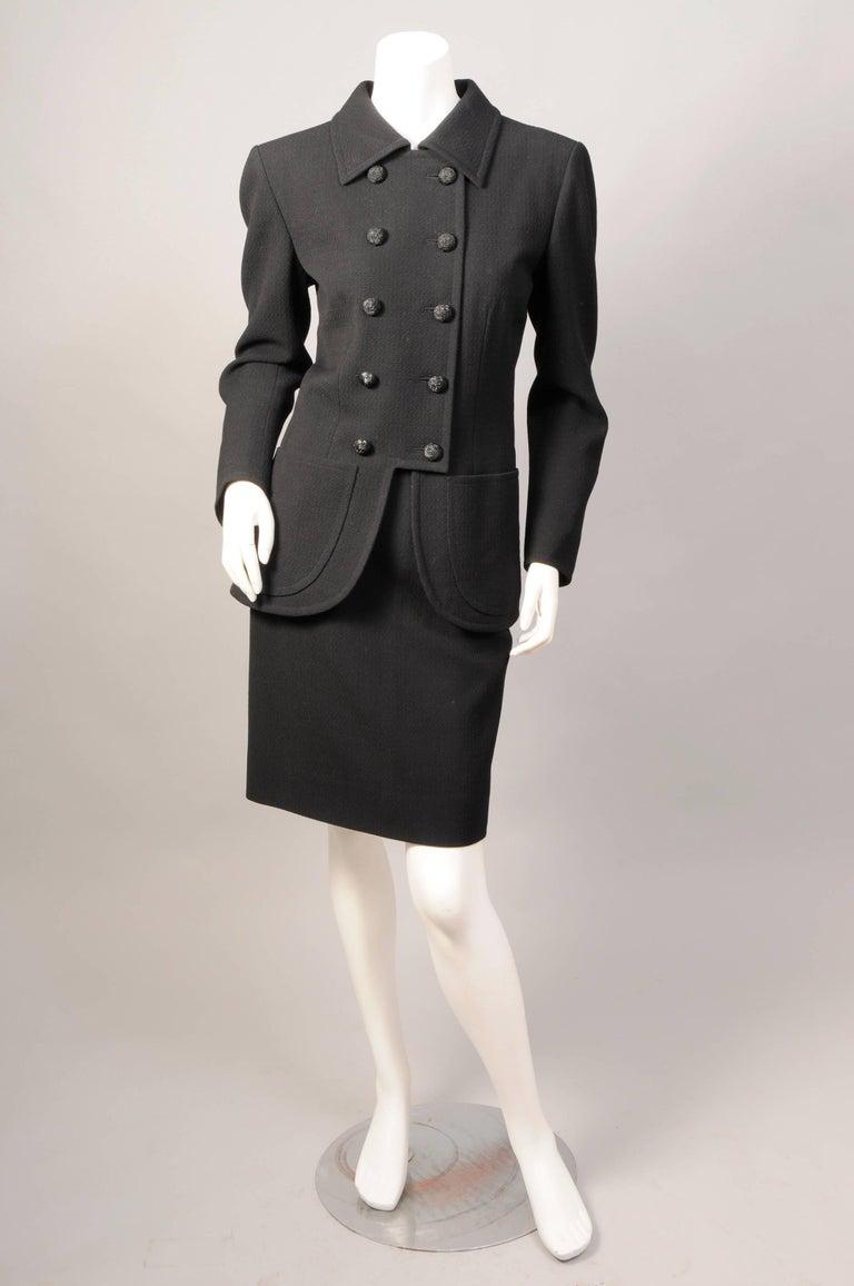 Yves saint laurent haute couture black wool suit late for Haute couture suits