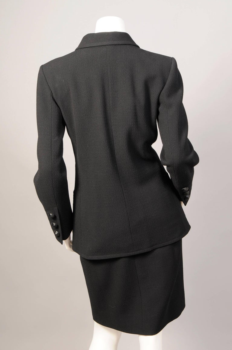 Yves Saint Laurent Haute Couture Double Breasted Black Wool Suit, late 1970s In Excellent Condition For Sale In New Hope, PA