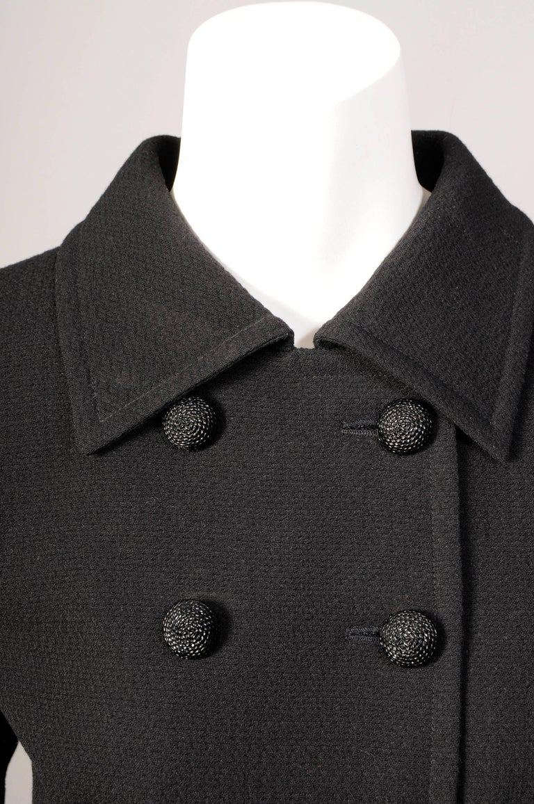 Women's Yves Saint Laurent Haute Couture Double Breasted Black Wool Suit, late 1970s For Sale
