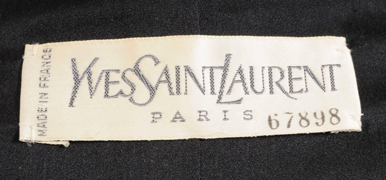 Yves Saint Laurent Haute Couture Double Breasted Black Wool Suit, late 1970s For Sale 1