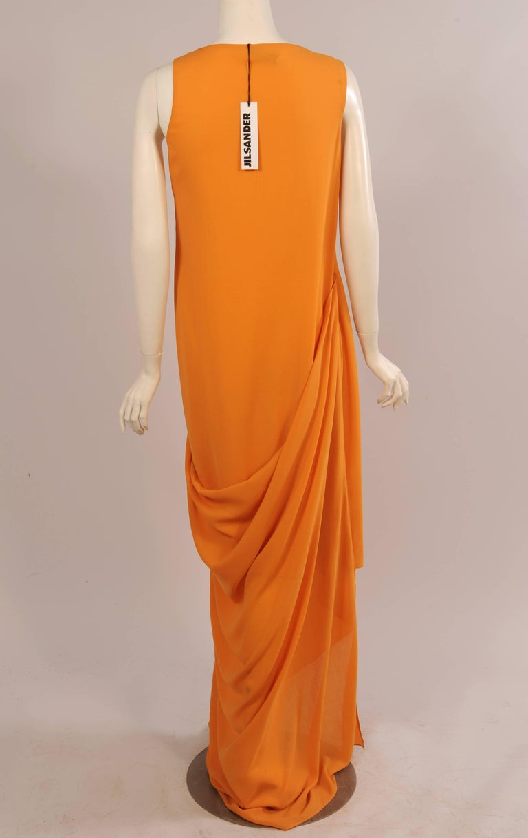 Orange Jil Sander Melon Colored Wool Crepe Dress with Attached Side Drape Never Worn For Sale