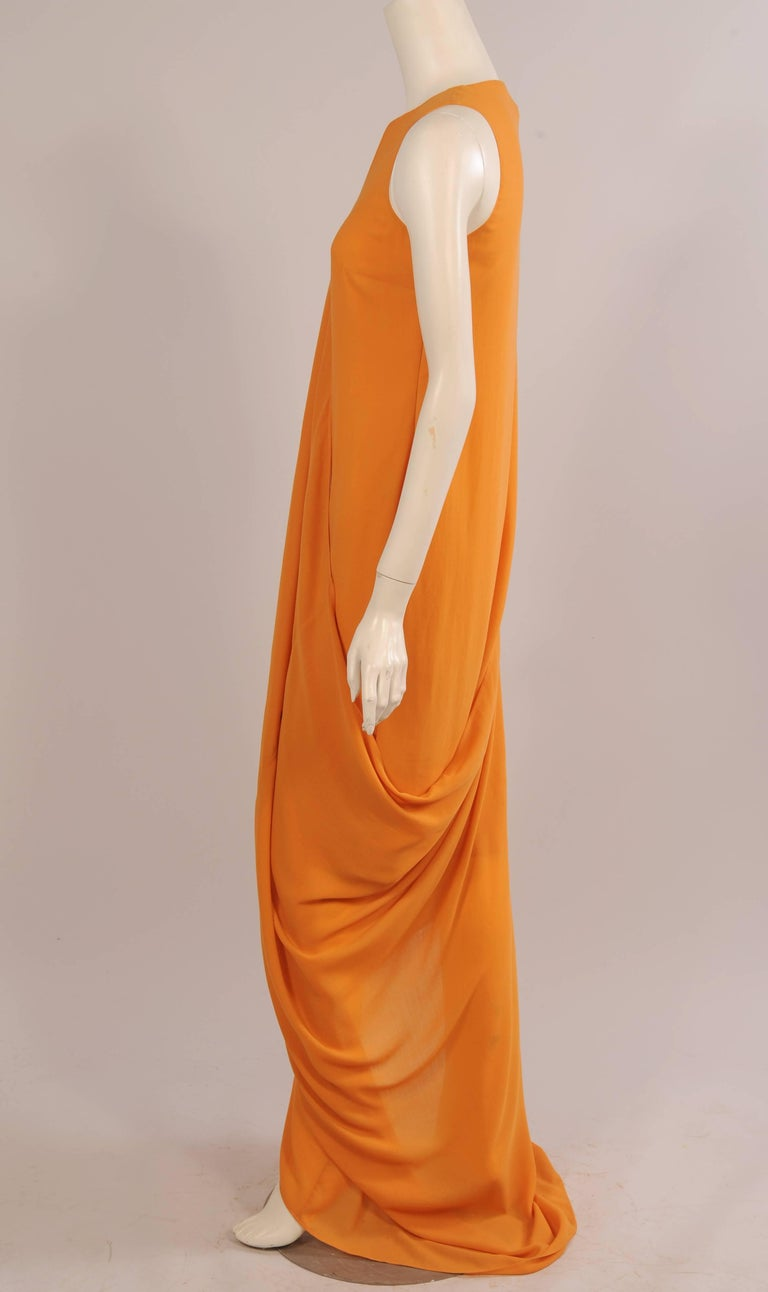 Jil Sander Melon Colored Wool Crepe Dress with Attached Side Drape Never Worn In New Condition For Sale In New Hope, PA