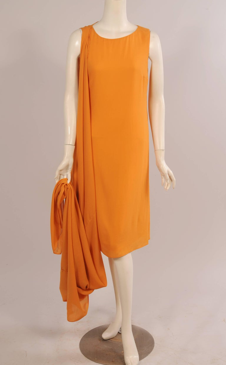 Women's Jil Sander Melon Colored Wool Crepe Dress with Attached Side Drape Never Worn For Sale