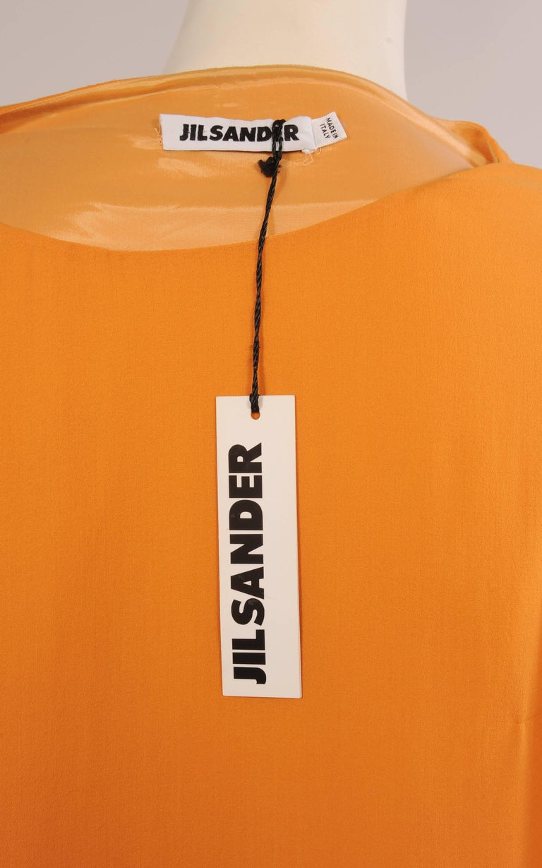 Jil Sander Melon Colored Wool Crepe Dress with Attached Side Drape Never Worn For Sale 1