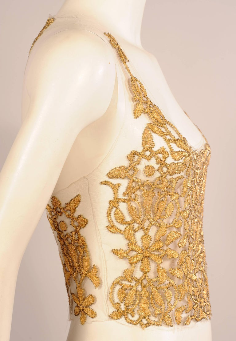 Maggie Norris Haute Couture Tulle Bodice Hand Sewn Gold Beads and Soutache 3