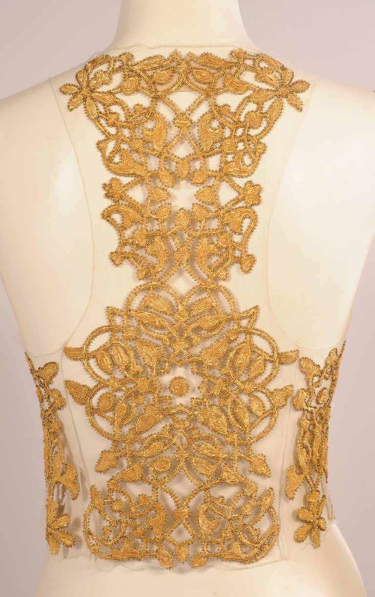 Maggie Norris Haute Couture Tulle Bodice Hand Sewn Gold Beads and Soutache 4