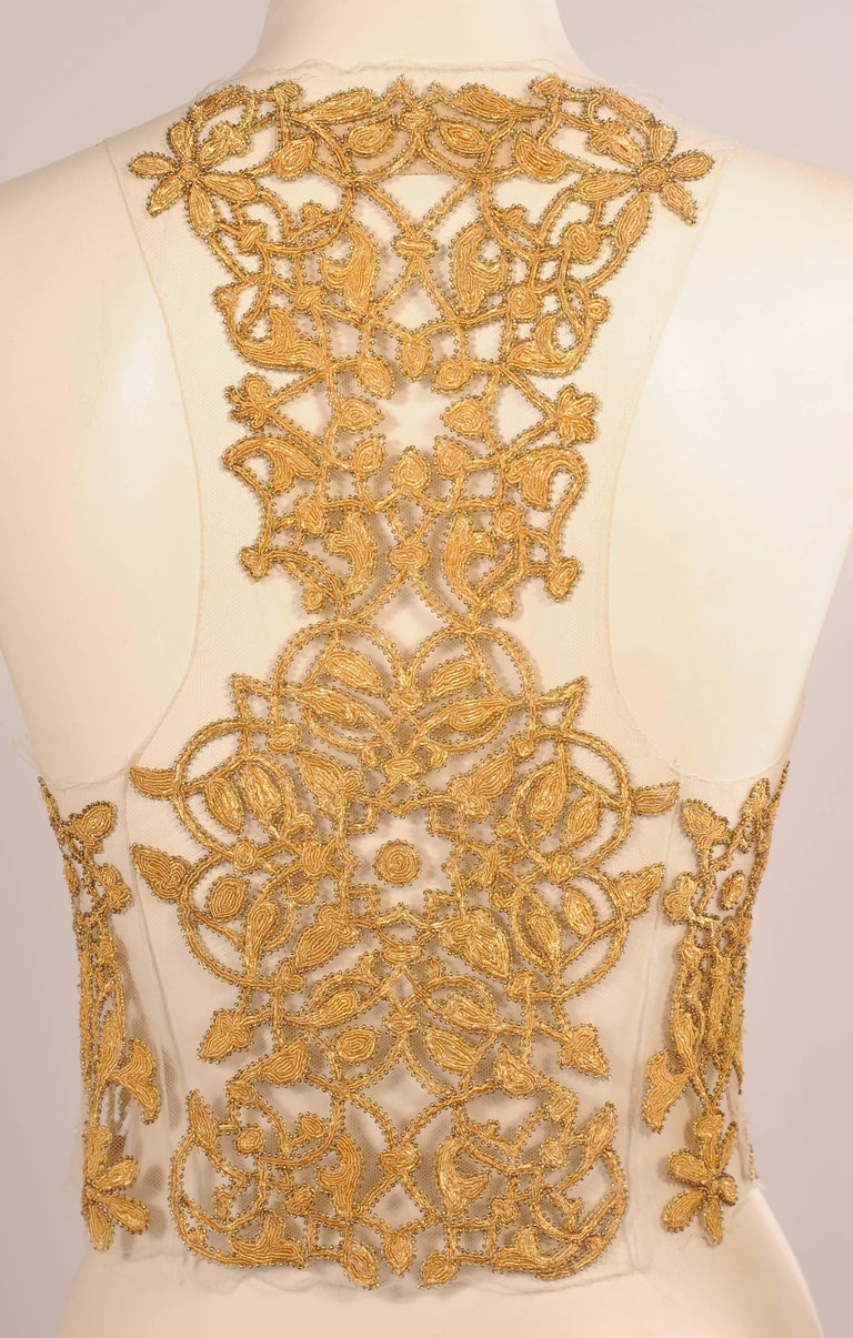 Maggie Norris Haute Couture Tulle Bodice Hand Sewn Gold Beads and Soutache 5