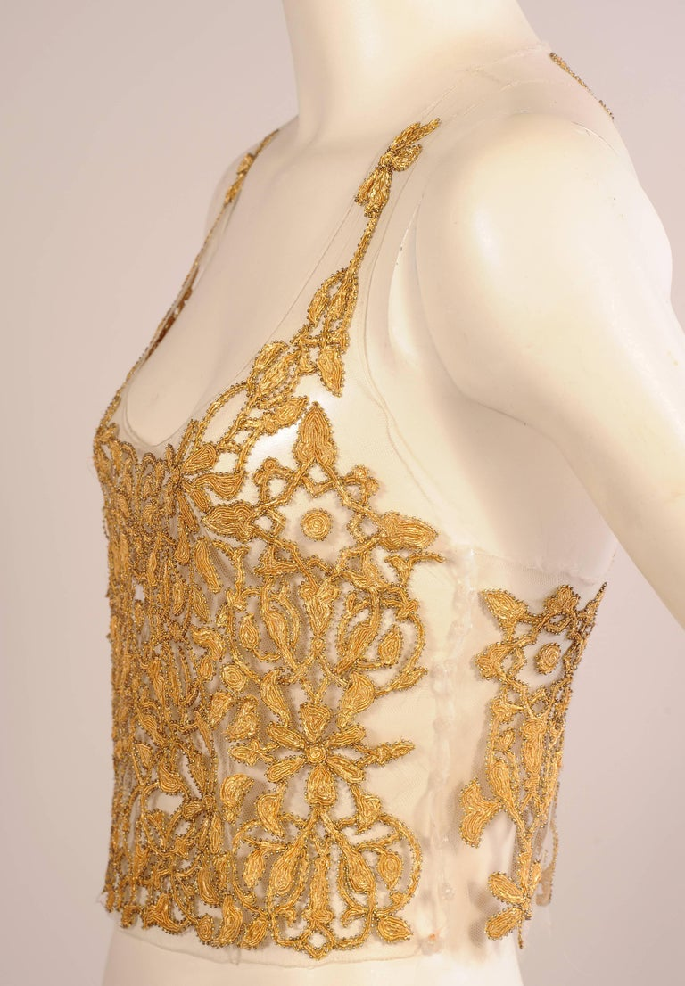 Maggie Norris Haute Couture Tulle Bodice Hand Sewn Gold Beads and Soutache 6