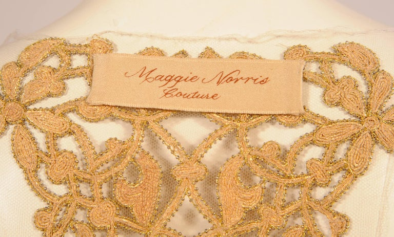 Maggie Norris Haute Couture Tulle Bodice Hand Sewn Gold Beads and Soutache 7