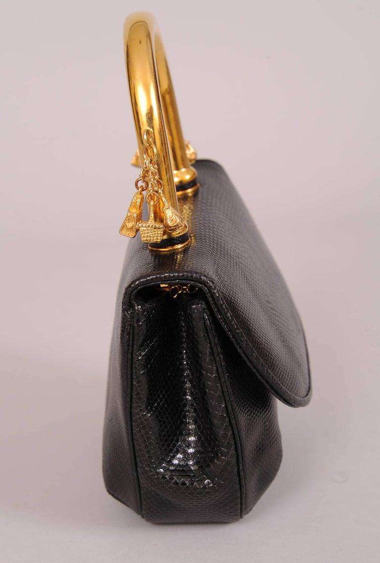 Judith Leiber Charming Black Karung Bag with Gold Charm Handle 2