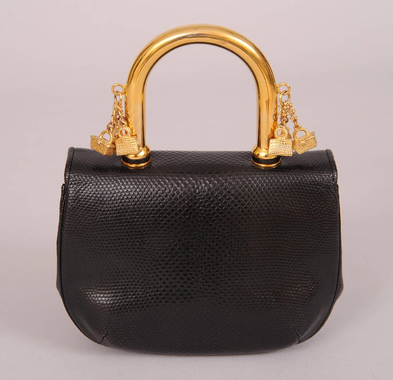 Judith Leiber Charming Black Karung Bag with Gold Charm Handle In Excellent Condition For Sale In New Hope, PA