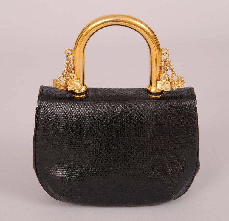 Judith Leiber Charming Black Karung Bag with Gold Charm Handle 3