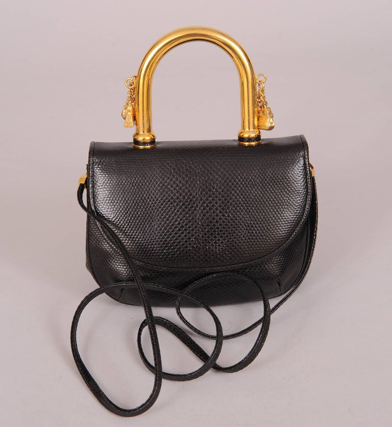Judith Leiber Charming Black Karung Bag With Gold Charm Handle st5o9