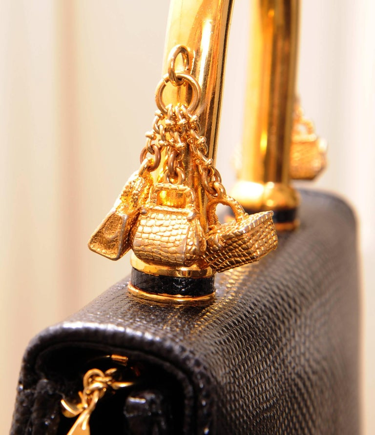 Judith Leiber Charming Black Karung Bag with Gold Charm Handle For Sale 1