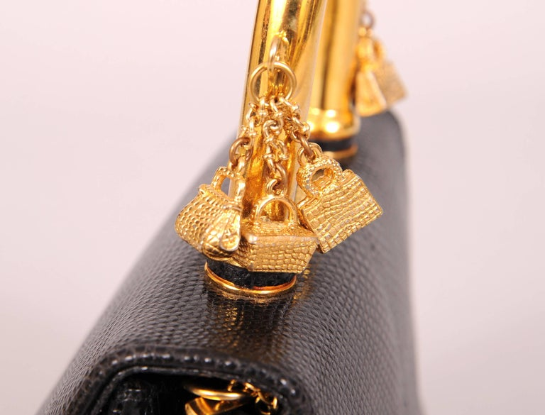 Judith Leiber Charming Black Karung Bag with Gold Charm Handle For Sale 2
