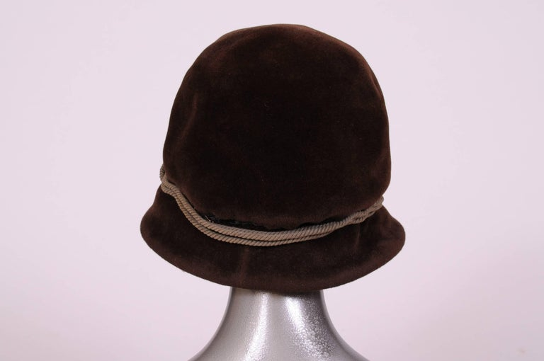 Black Balenciaga Haute Couture Brown Velour Hat circa 1960 For Sale