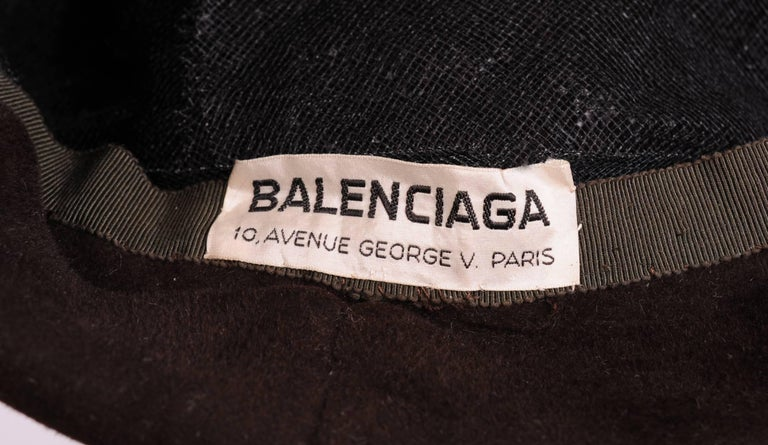 Women's Balenciaga Haute Couture Brown Velour Hat circa 1960 For Sale