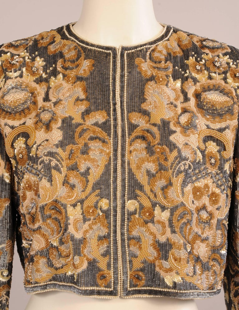 Bill Blass  Beaded Evening Jacket Charcoal Grey and Camel Sequins and Embroidery 2