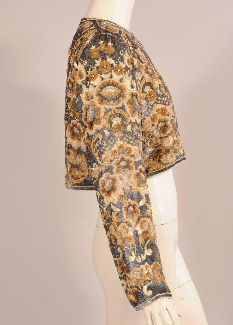 Bill Blass  Beaded Evening Jacket Charcoal Grey and Camel Sequins and Embroidery 4