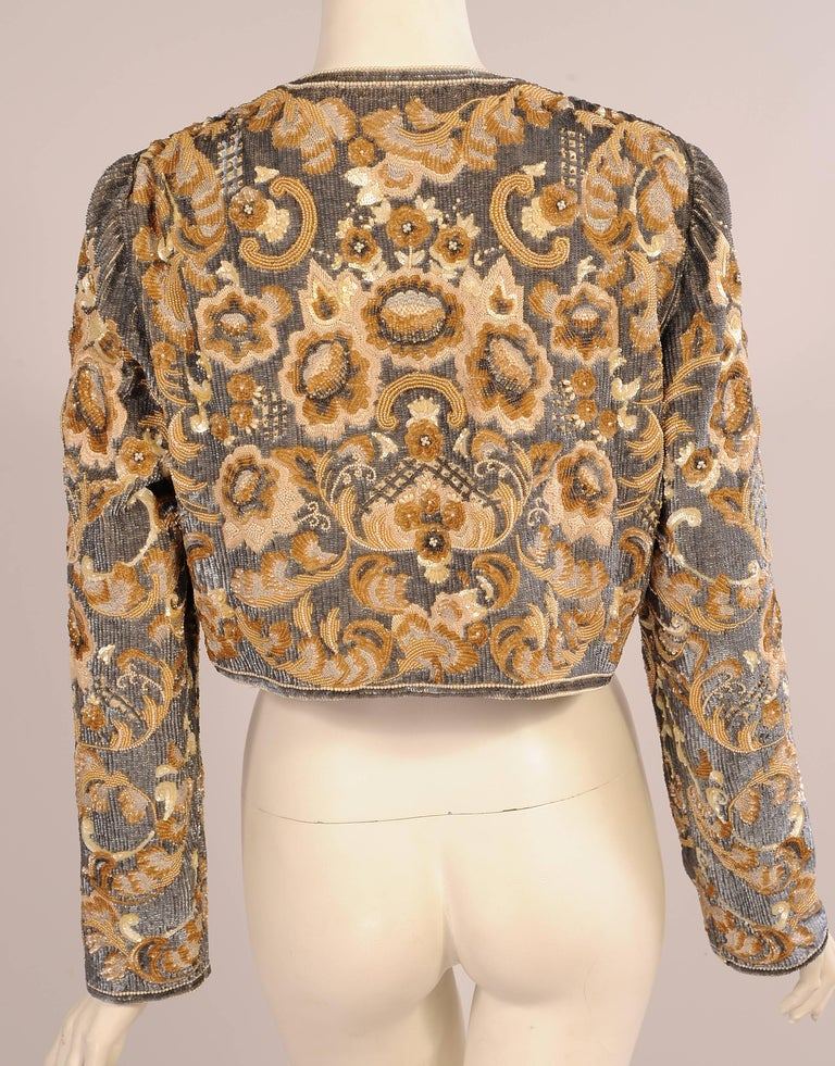 Bill Blass  Beaded Evening Jacket Charcoal Grey and Camel Sequins and Embroidery 5