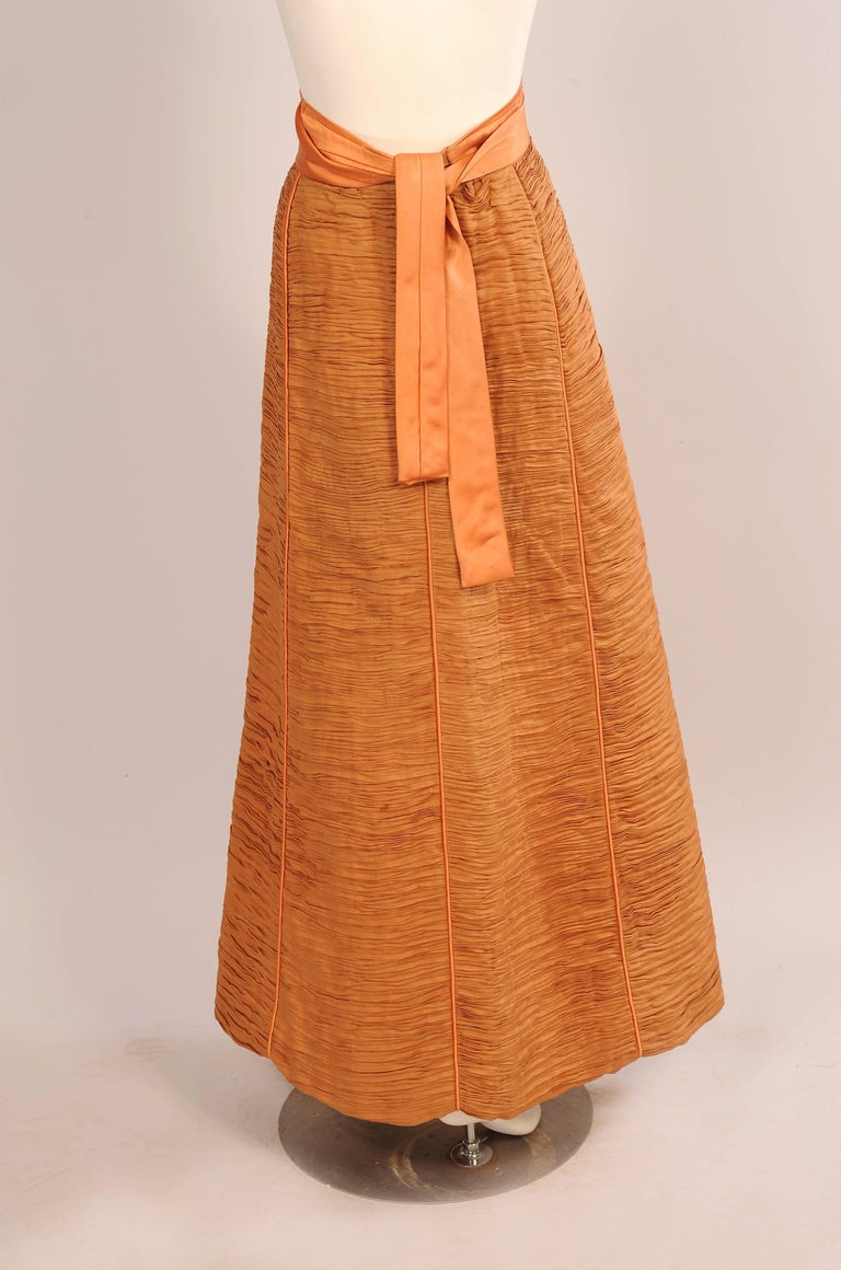 Orange Sybil Connolly Irish Couturier Melon Colored Pleated Linen Evening Skirt For Sale