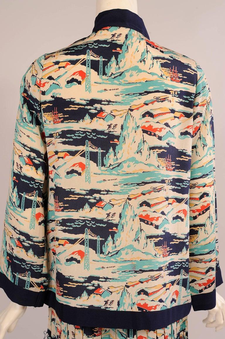 Women's Mallinson's National Park Series Glacier Bay Alaska Pattern Dress, 1920s  For Sale